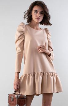 Nommo Luźna sukienka z falbanką beżowa NA195LP