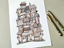 Proste rysunki Zentangle - domy
