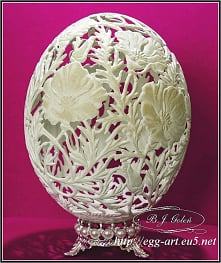 Dla Alicji - strusie jajo rzeźbione - autor Bogusława Justyna Goleń - Poland