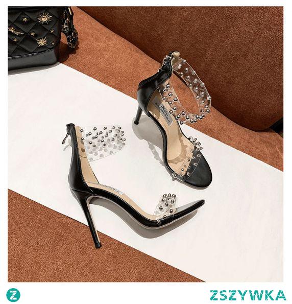 Przezroczysty Seksowne Czarne Zużycie ulicy Nit Sandały Damskie 2020 Skórzany 10 cm Szpilki Peep Toe Sandały