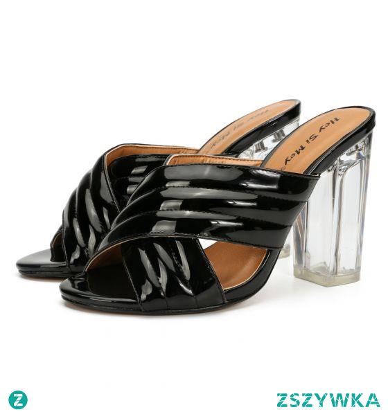 Piękne Czarne Zużycie ulicy Sandały Damskie 2020 Skóry Lakierowanej 10 cm Grubym Obcasie Peep Toe Sandały