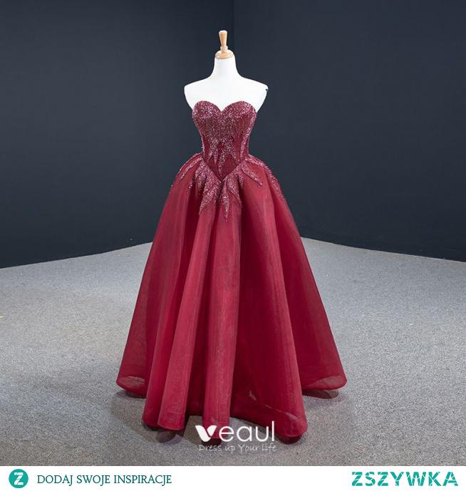 Luksusowe Burgund Zaręczynowa Sukienki Na Bal 2020 #SukienkiNaBal #SukienkiWizytowe #promdress