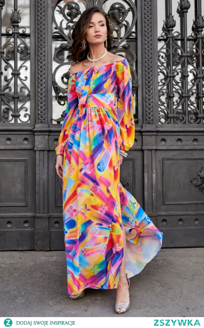 ROCO Elegancka długa sukienka letnia w kolorowy print 0245/S48