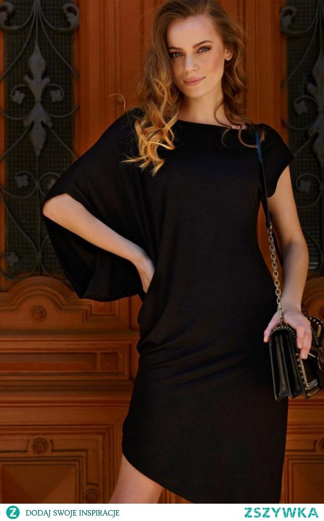 Makadamia Asymetryczna sukienka czarna L10