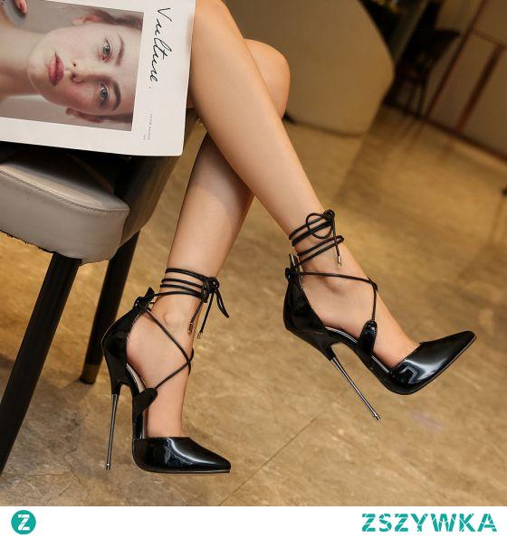 Seksowne Czarne Karnawał Sandały Damskie 2020 Z Paskiem 16 cm Szpilki Szpiczaste Sandały