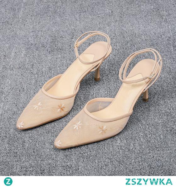 Piękne Ecru Koktajlowe Z Koronki Sandały Damskie 2020 Z Paskiem 6 cm Szpilki Szpiczaste Sandały