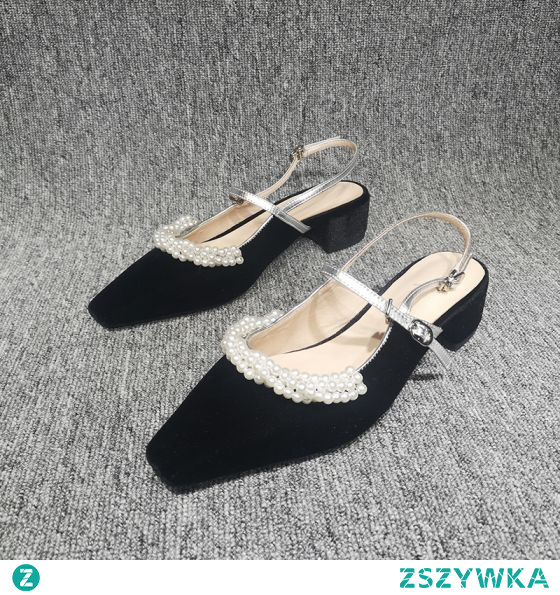 Piękne Czarne Przypadkowy Perła Sandały Damskie 2020 Slingback 4 cm Grubym Obcasie Niski Obcas Szpiczaste Sandały