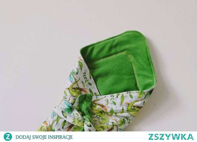 Rożek niemowlęcy dla chłopca, zielony i biały w jaszczurki