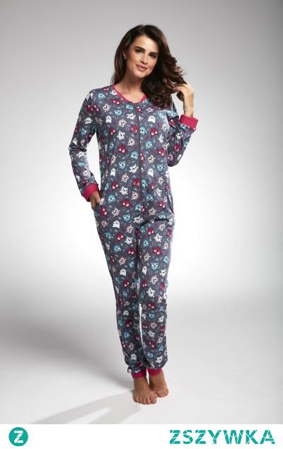 Piżama damska kombinezon w kolorowe sówki. Stwórz zestaw mama+córka. Sprawdź najciekawsze propozycje od Cornette.