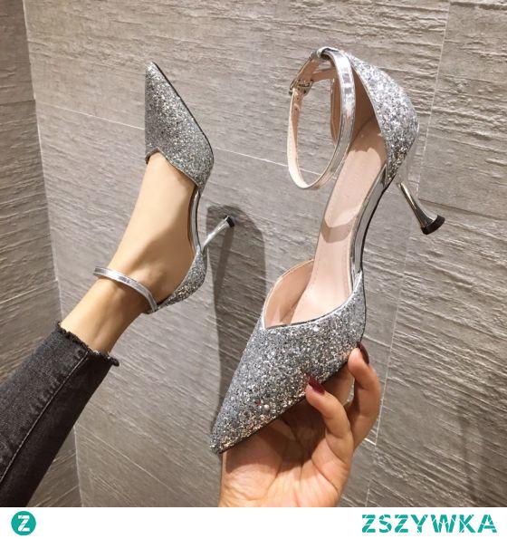 Błyszczące Srebrny Wieczorowe Cekiny Sandały Damskie 2020 Z Paskiem 7 cm Szpilki Szpiczaste Sandały