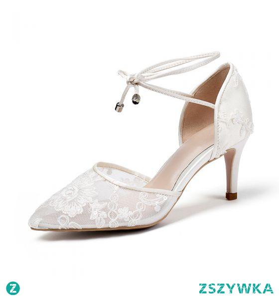 Eleganckie Kość Słoniowa Buty Ślubne 2020 Skórzany Koronkowe Kwiat 7 cm Szpilki Szpiczaste Ślub Sandały