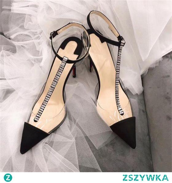 Seksowne Lato Czarne Koktajlowe Sandały Damskie 2020 Skórzany Rhinestone T-Bar 9 cm Szpilki Szpiczaste Sandały
