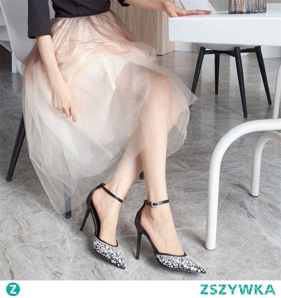 Piękne Czarne Zużycie ulicy Rhinestone Sandały Damskie 2020 Skórzany Z Paskiem 10 cm Szpilki Szpiczaste Sandały