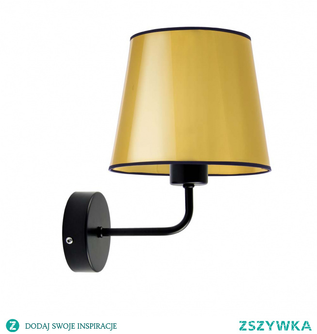Kinkiet ścienny RIMINI MIRROR to piękne a zarazem funkcjonalne oświetlenie każdego mieszkania. Jej uniwersalna konstrukcja i prosty design sprawdzi się doskonale w każdym wnętrzu. Będzie idealnym dodatkowym źródłem światła w sypialni przy łóżku, salonie czy doświetli wolną przestrzeń na przedpokoju lub klatce schodowej. Stelaż lampki jest metalowy, natomiast abażur został wykonany z materiału PVC. Dzięki możliwości indywidualnego doboru koloru stelaża i abażuru. Kinkiet RIMINI MIRROR idealnie wpasuje się w klasyczny lub nowoczesny styl pomieszczenia, a ponadto sprawdzi się nie tylko jako produkt użytkowy, ale również jako oryginalny element dekoracyjny.  Kinkiet ścienny dostępny jest w dwóch odcieniach abażura: złota i miedzi, oraz w czarnym kolorze stelaża.