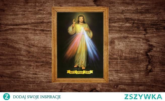 Obraz Jezusa Miłosiernego dostępny jest w ramie oraz na płótnie canvas.