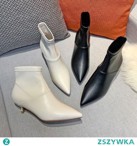 Piękne Spadek Czarne Zużycie ulicy Niski Obcas Buty Damskie 2020 3 cm Szpilki Szpiczaste Boots