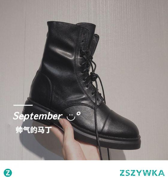 Moda Piękne Spadek Czarne Zużycie ulicy Płaskie Okrągłe Toe Botki Buty Damskie 2020