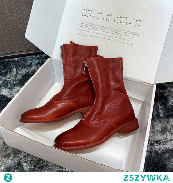 Piękne Zima Burgund Zużycie ulicy Skórzany Buty Damskie 2020 3 cm Niski Obcas Okrągłe Toe Boots