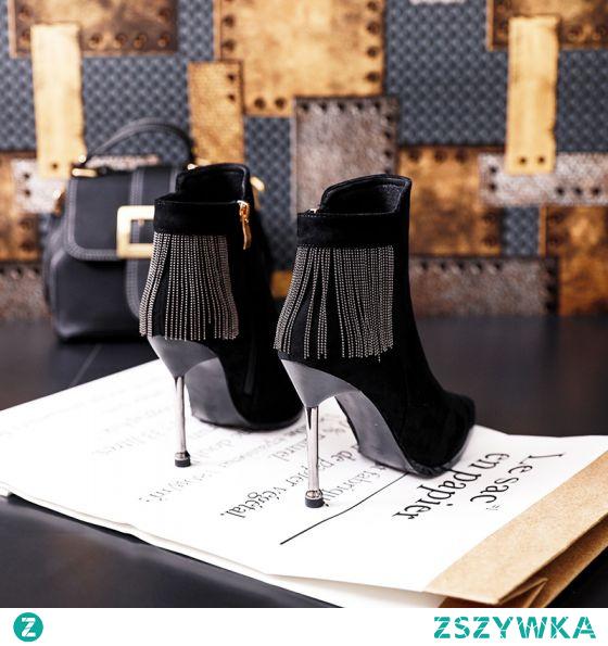 Piękne Spadek Czarne Przypadkowy Zamszowe Buty Damskie 2020 Kutas 9 cm Szpilki Szpiczaste Boots
