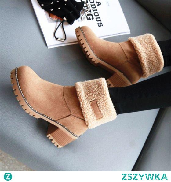 Trzymaj Się Ciepło Zima Brązowy Zużycie ulicy Zamszowe Botki Snow Boots 2020 5 cm Grubym Obcasie Okrągłe Toe Buty Damskie