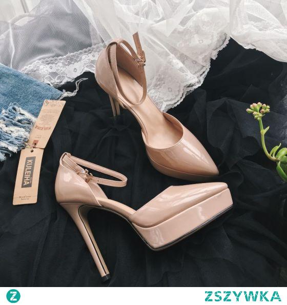 Piękne Ecru Koktajlowe Sandały Damskie 2020 Skórzany 12 cm Szpilki Z Paskiem Szpiczaste Sandały