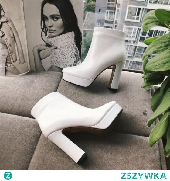 Proste / Simple Białe Przypadkowy Botki Buty Damskie 2020 Skórzany 11 cm Grubym Obcasie Kwadratowe Boots