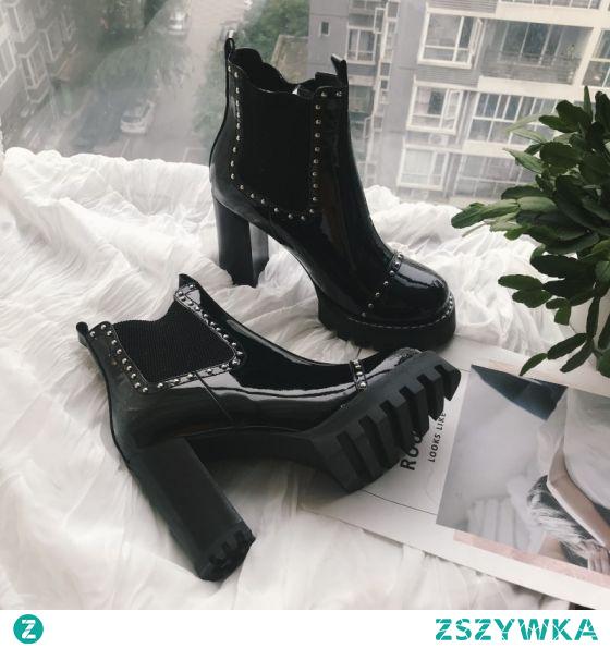 Moda Czarne Zużycie ulicy Skórzany Botki Buty Damskie 2020 Skóry Lakierowanej 9 cm Grubym Obcasie Okrągłe Toe Boots