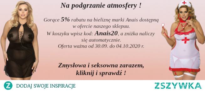 Rabat 5% na bieliznę marki Anais dostępną w ofercie sklepu diores.pl KOD: Anais20 Ważny od 30.09. do 04.10.2020 r.