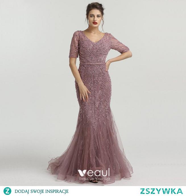 Wysokiej Klasy Fioletowe Organza Przezroczyste Sukienki Wieczorowe 2020