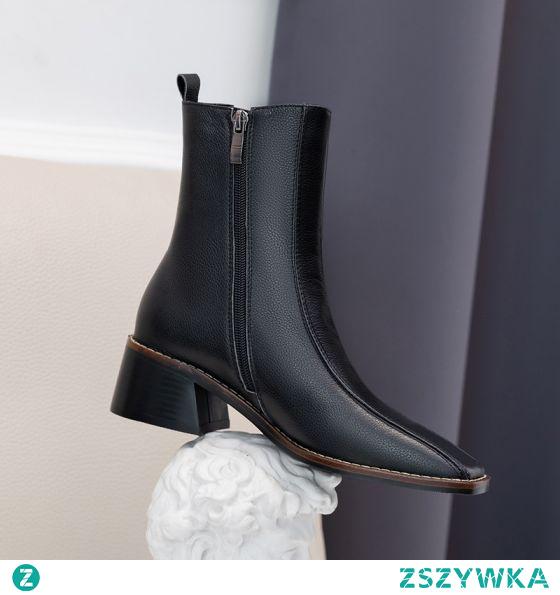 Proste / Simple Beżowe Przypadkowy Botki Buty Damskie 2020 Skórzany 5 cm Grubym Obcasie Kwadratowe Boots