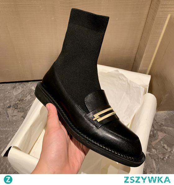 Piękne Czarne Zużycie ulicy Botki Dziewiarskie Płaskie Buty Damskie 2020 Skórzany Okrągłe Toe Boots