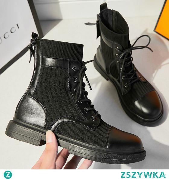 Proste / Simple Czarne Zużycie ulicy Dziewiarskie Płaskie Buty Damskie 2020 Botki Okrągłe Toe Boots