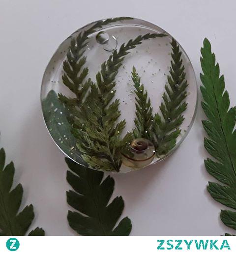 Nowy zestaw transparentnej kolekcji paprotkowej ze skorupką ślimaczka lub kwiatkiem hortensji - koło 2,5 cm, kwadrat 2,5 cm, łezka 2,5 cm, owal ze skorupą 2,5 cm, z kwiatkiem 3 cm #resinjewellery #epoxyart #bizuteriazzywicy #recznierobione #handmadejewelry