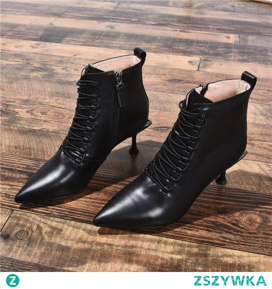 Moda Czarne Zużycie ulicy Botki Buty Damskie 2020 Skórzany 7 cm Szpilki Szpiczaste Boots