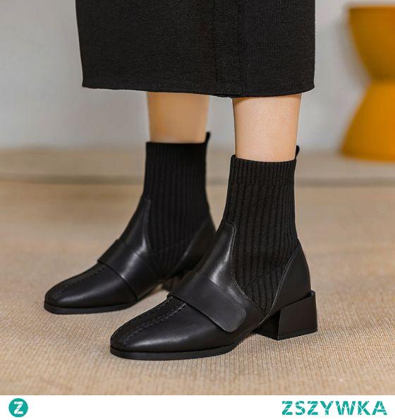 Moda Czarne Zużycie ulicy Dziewiarskie Botki Buty Damskie 2020 4 cm Grubym Obcasie Niski Obcas Kwadratowe Boots