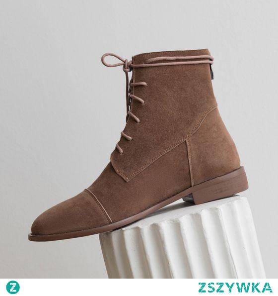 Moda Brązowy Zużycie ulicy Botki Buty Damskie 2020 Okrągłe Toe Mieszkanie Boots