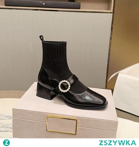 Śliczny Vintage Czarne Zużycie ulicy Botki Dziewiarskie Buty Damskie 2020 4 cm Grubym Obcasie Niski Obcas Kwadratowe Boots