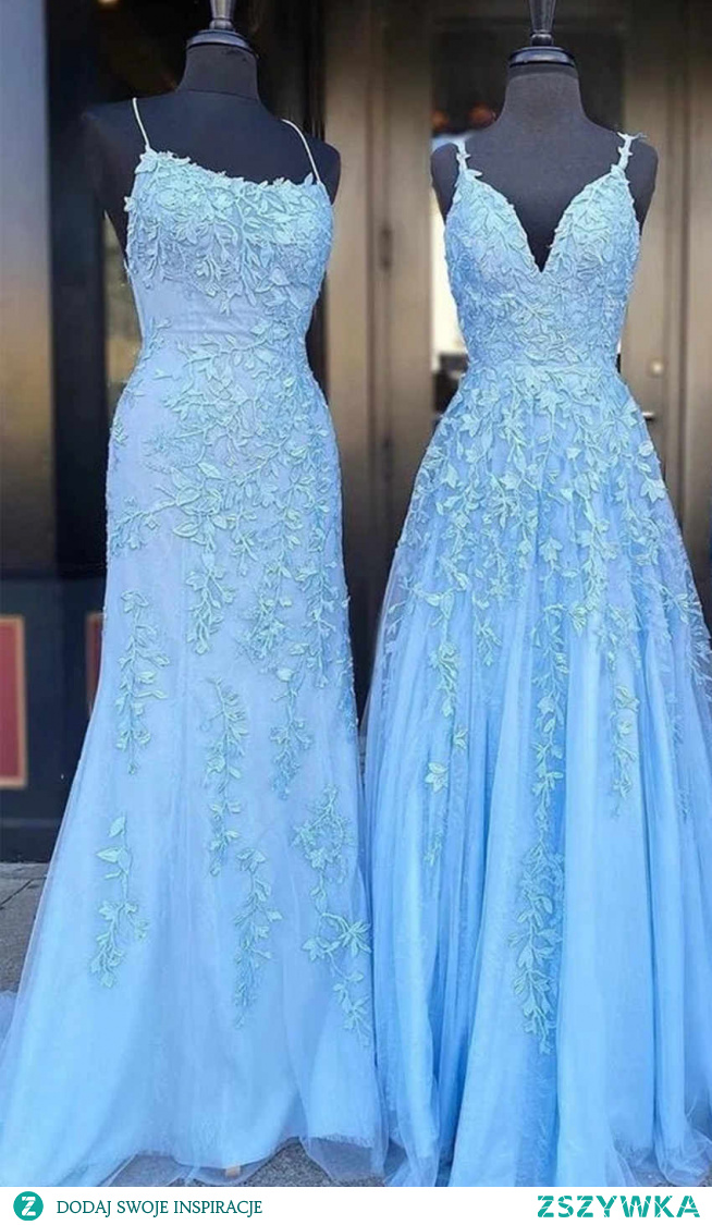 podaj opis zszywki Light Blue Applique Long Mermaid Prom Dress KSP579