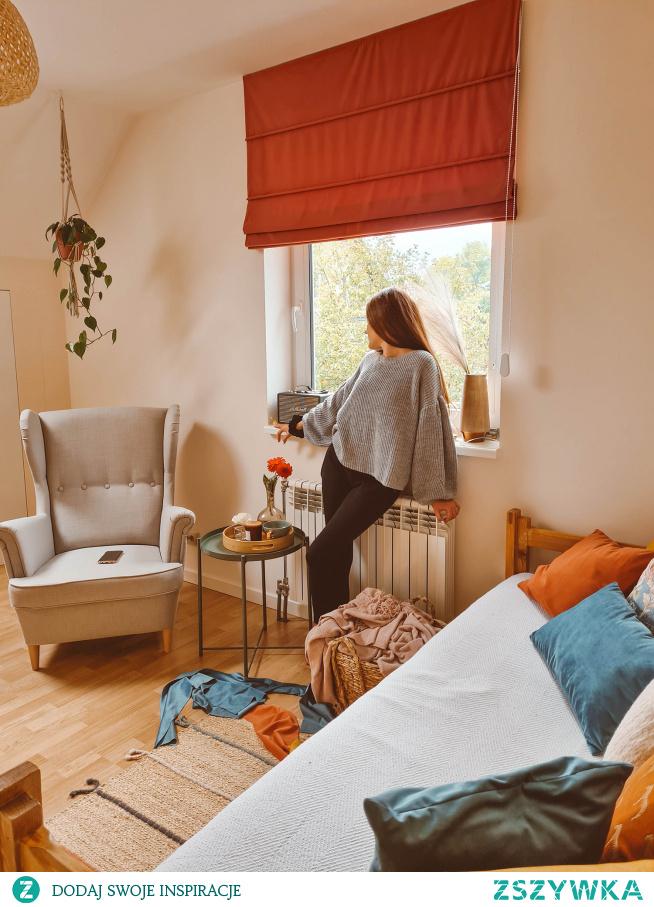 Pokój w stylu BOHO Roleta rzymska - materiał VELVET V27 Poduszki dekoracyjne - Welur, Velvet i materiał Boho  Dekoracje z Nasze Domowe Pielesze