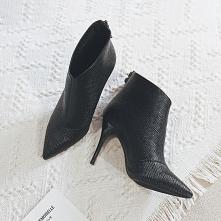 Minimalistyczny Czarne Zużycie ulicy Botki Buty Damskie 2020 9 cm Szpilki Szpiczaste Boots