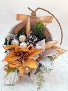 Dekoracja świąteczna, stroik z gwiazdami betlejemskimi. Nowość na Allegro.