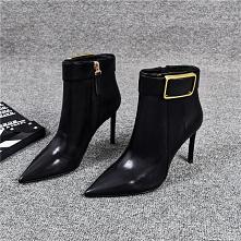 Moda Czarne Zużycie ulicy Buty Damskie 2020 Skórzany Botki 9 cm Szpilki Szpiczaste Boots
