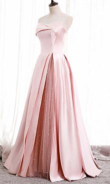 Pink Strapless Satin and Tu...