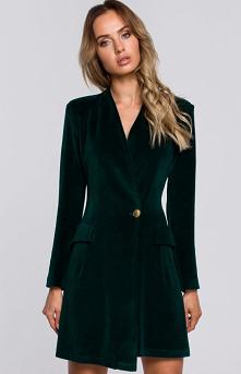 MOE Welurowa sukienka żakietowa zielona M562 #moda #uroda