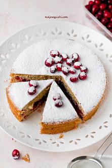 Waniliowe ciasto z żurawiną