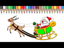 How to color Santa Claus & Rudolph with markers
