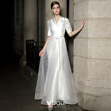 Moda Białe Satyna Sukienki ...