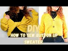 diy sweter zapinany na guziki