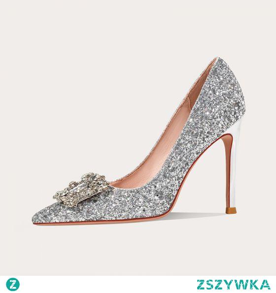 Fantastyczny Srebrny Cekinami Cekiny Buty Ślubne 2020 Rhinestone Skórzany 10 cm Szpilki Szpiczaste Ślub Czółenka