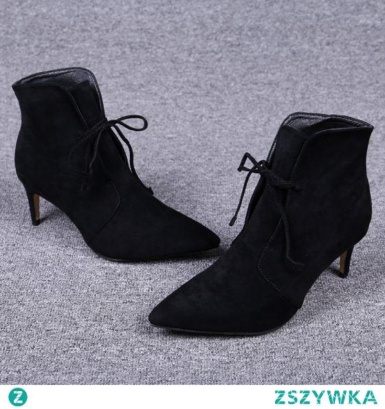 Proste / Simple Czarne Zima Zużycie ulicy Botki Zamszowe Buty Damskie 2020 Skórzany 7 cm Szpilki Szpiczaste Boots